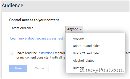 Google+ posts restriction settings page alcohol
