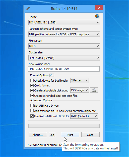 how to create windows 8 bootable usb using rufus