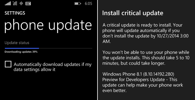 Windows Phone 8-1 Critical update