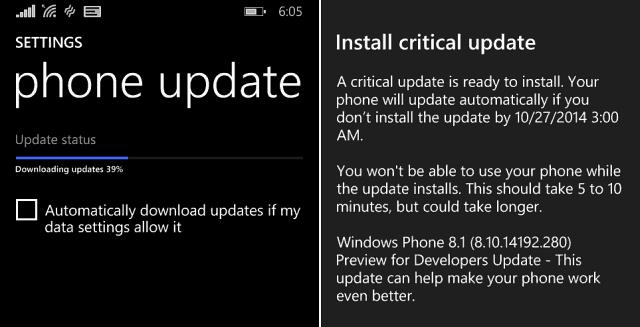 Windows Phone 8-1 Critical update