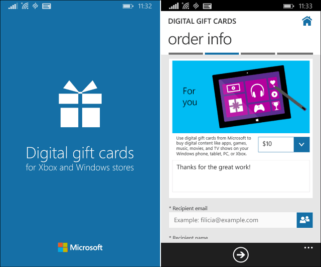 Digital Gift Cards Windows Phone
