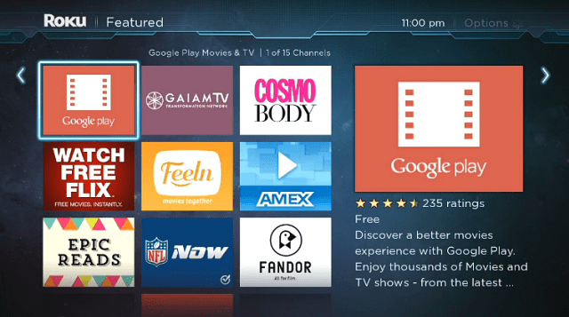 Google Play Movies & TV Added to Roku Channel Store