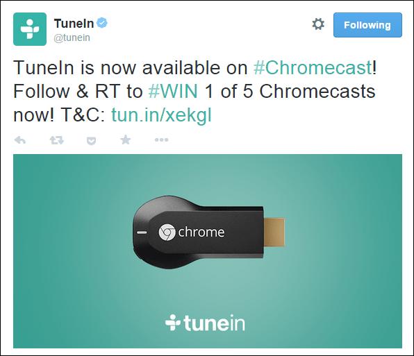 TuneIn Twitter Chromecast Promo