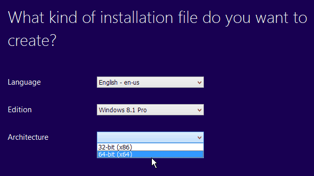 install windows 8.1 64 bit from 32 bit