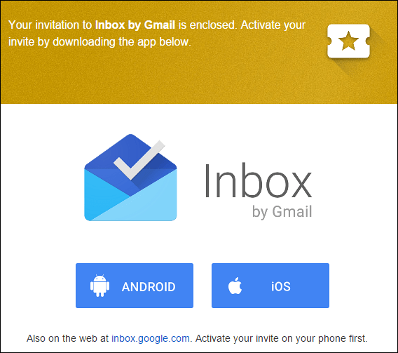 inbox by Gmail invite