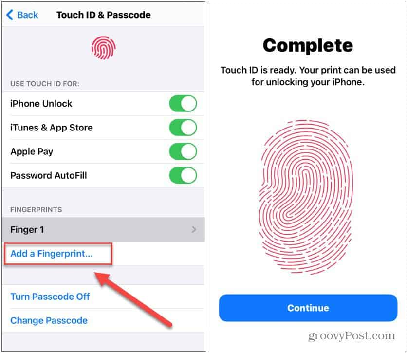 add fingerprint to iPhone touch ID