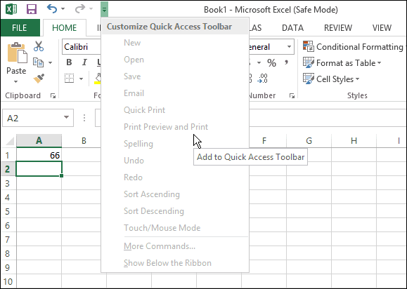 Excel Safe Mode