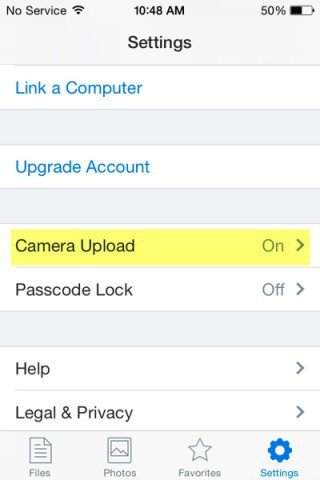 dropbox settings, camera upload