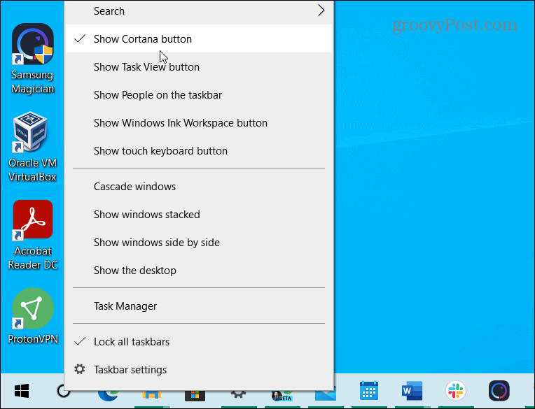 remove cortana and task view