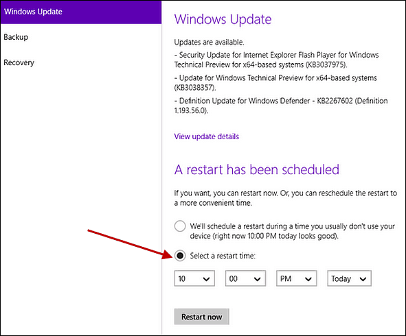 Schedule Restart in Windows 10