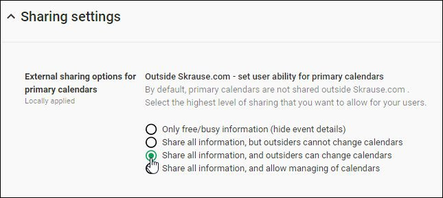 configure sharing settings for google apps