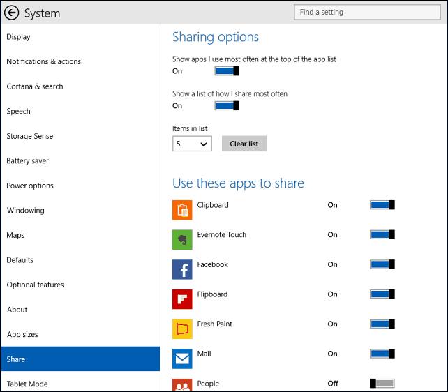 sharing options Windows 10