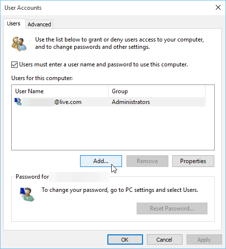 User Accounts Windows 10