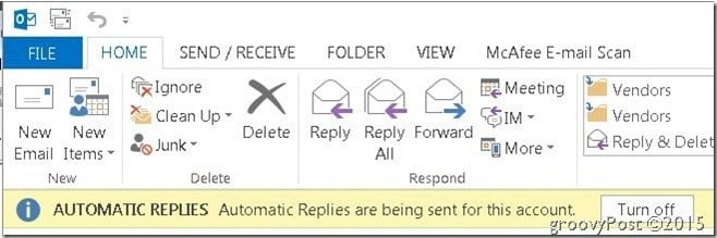 Outlook Automatic Replies Top Right