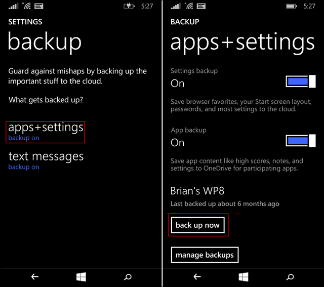 back up Windows Phone