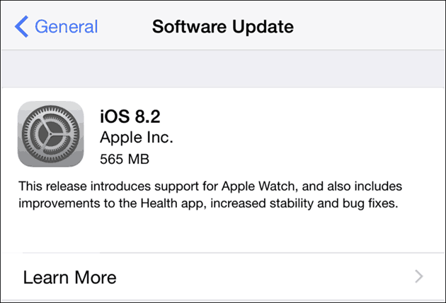 Apple iOS 8.2 for iPhone and iPad - Software Update