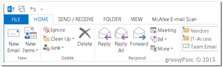 Outlook 2013 Toolbar