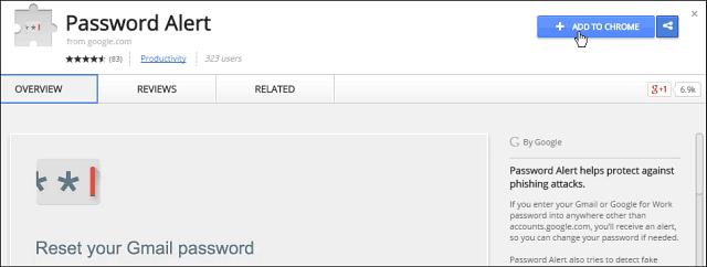 Google Password Alert Extension