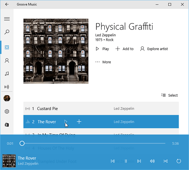 Groove Music Windows 10