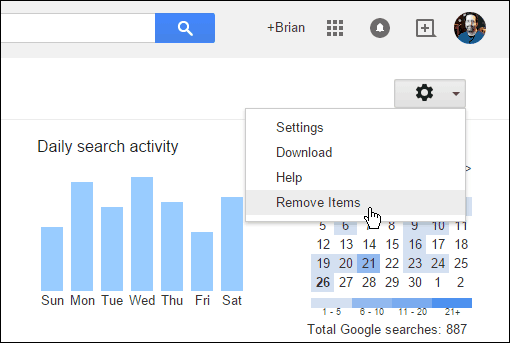 how to delete the search history in google chrome