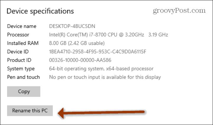Rename this PC windows 10