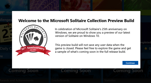 Solitaire Splash Screen Windows 10