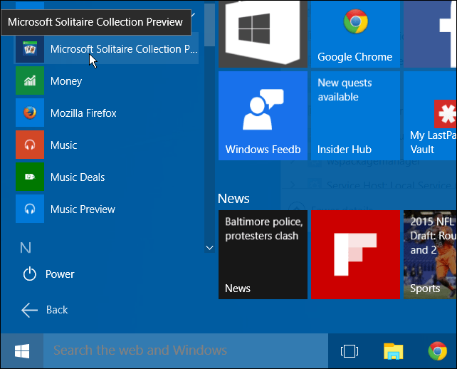 Solitaire Start Menu