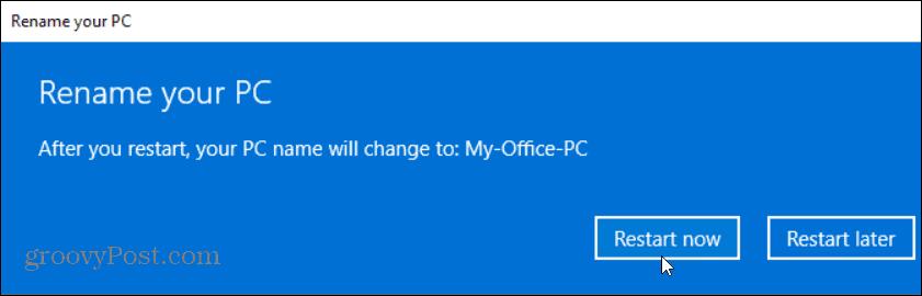 restart Windows 10 PC