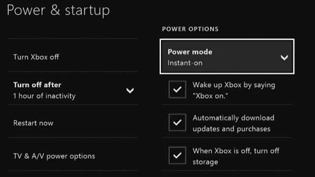 Xbox One Power Options