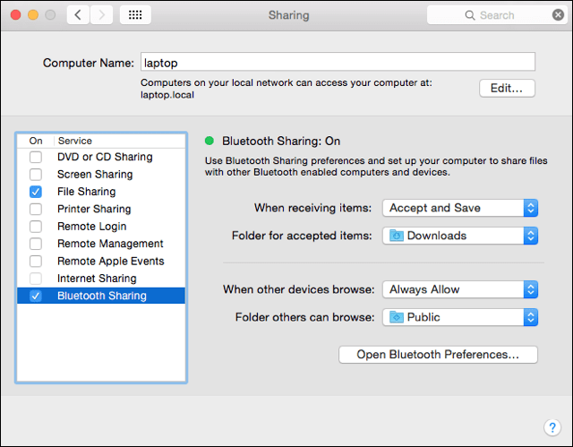 Set up Bluetooth Sharing
