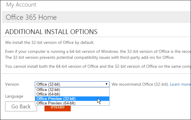 cannot install office 2016 32 bit