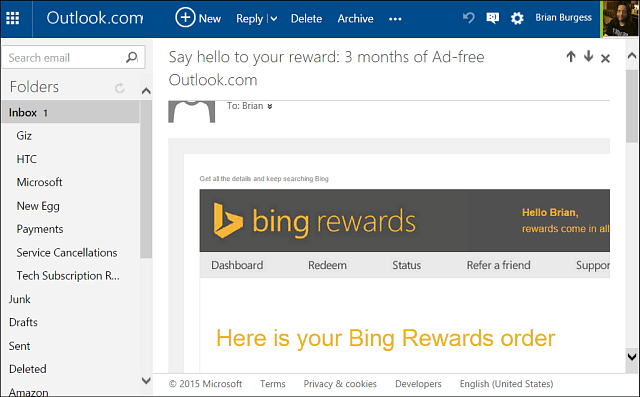 ad-free outlook Bing Rewards