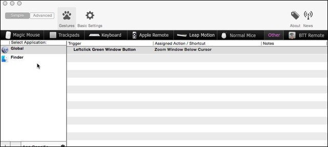 BetterTouchTool Settings on Yosemite