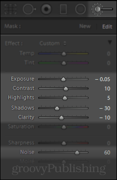 Brush Tool in Lightroom for Noise Reduction
