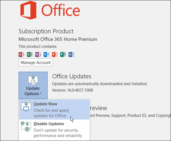 Office 2016 update