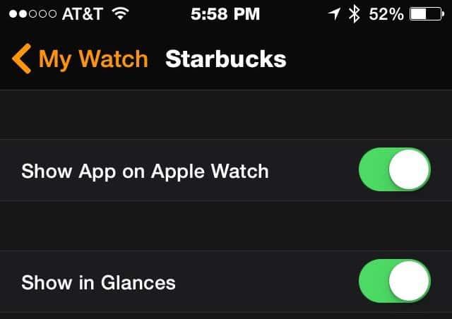 Starbucks app - Apple Watch