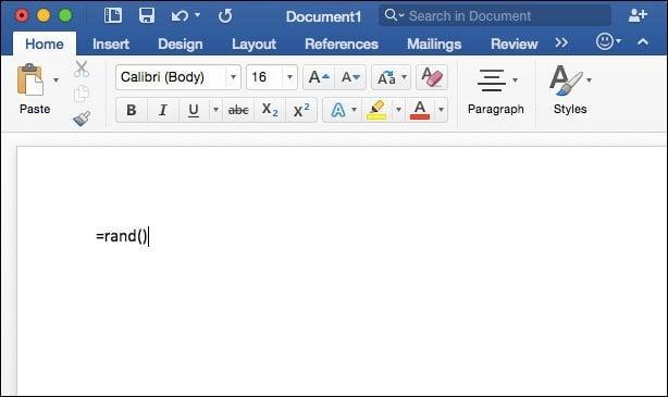 Word 2016 for Mac Random Text Generator