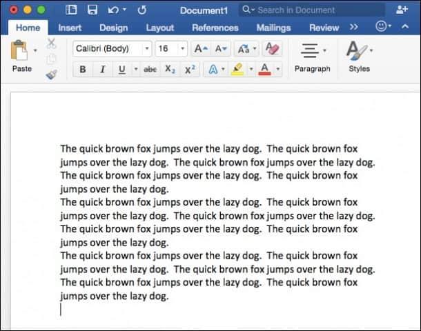 Word for Mac 2016 Random Text
