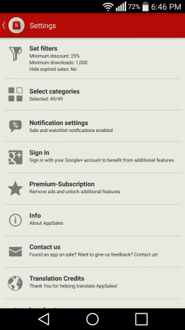 AppSales Filters Settings Screen