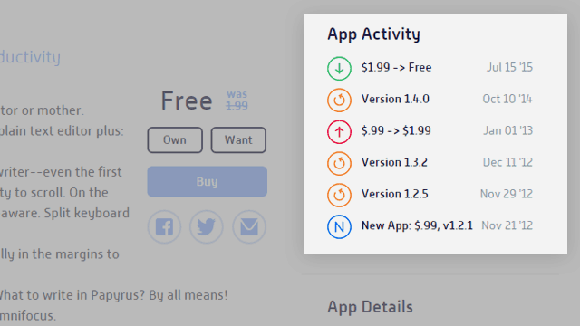 AppShopper Apps Price Track