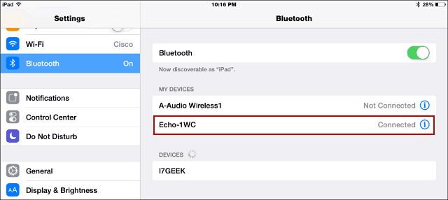 Bluetooth Echo iPad