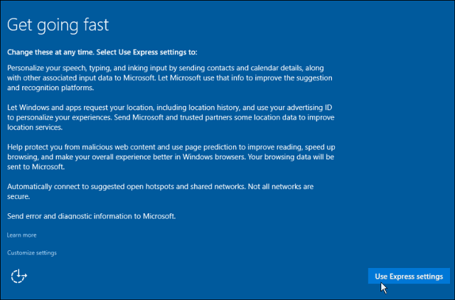 Epress Settings Windows 10