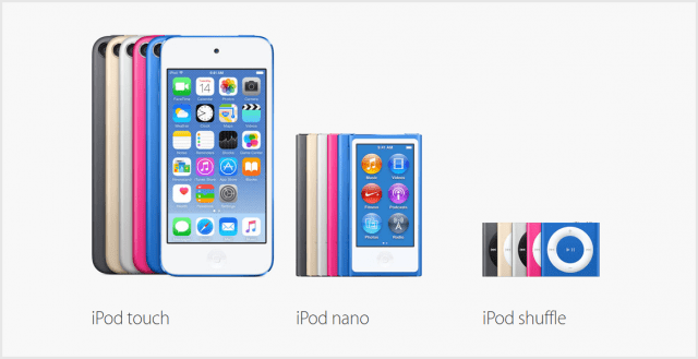 Image courtesy of Apple (http://www.apple.com/ipod/compare-ipod-models/)