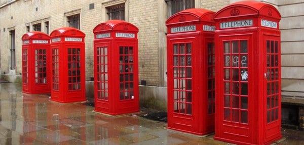 Telephone boots, across London Opera in rain-20