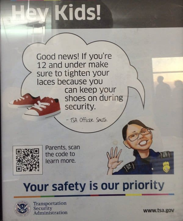 Tsa sign telling kids they dont have to take their shoes off