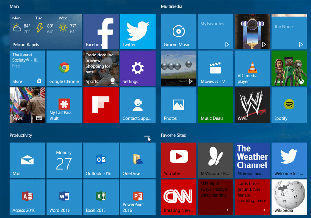 Windows 10 tile groups start menu large