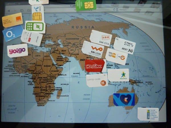 World map of SIM cards