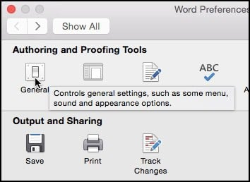 office 2016 for mac - click general