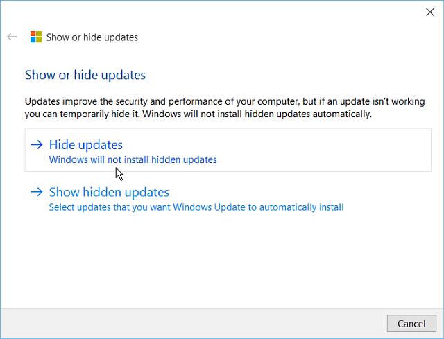 Hide Windows 10 Update tool