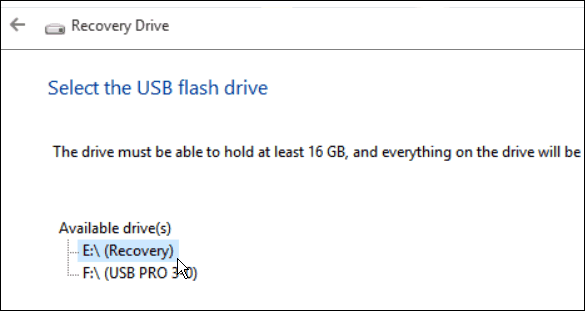 cant create usb recovery drive windows 10